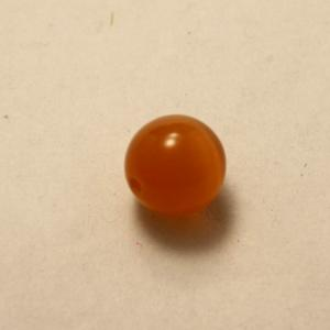 Perles en cristal AAA ronde oeil de chat 10mm couleur orange (x 1)