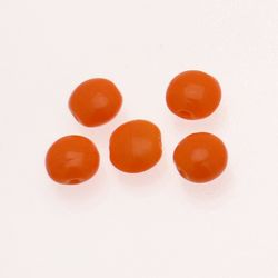 "Perle en verre ronde aplatie ""smarties"" Ø12mm couleur orange opaque (x 5)"